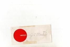 J.C. Martin Autograph On Paper Good P493 - $10.70