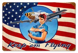 Keep 'em Flying Pin Up Metal Sign Greg Hildebrandt - $29.95
