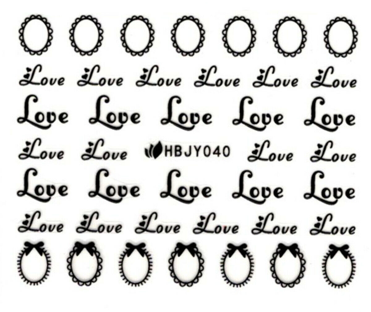 Primary image for Nail Art 3D Decal Stickers Black Words Love Hearts HBJY040