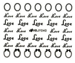 Nail Art 3D Decal Stickers Black Words Love Hearts HBJY040 - $2.99