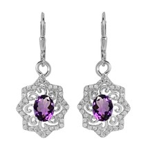 Amethyst With White Topaz Gemstone 925 Sterling Silver Flower Filigree E... - $35.86