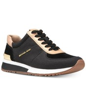 Michael Kors MK Women's Allie Trainer Leather Canvas Sneakers Shoes Black