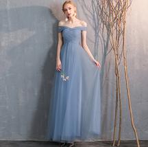 Bridesmaid Dress Off Shoulder Sweetheart Tulle Empire Dress Floor Length Wedding image 2
