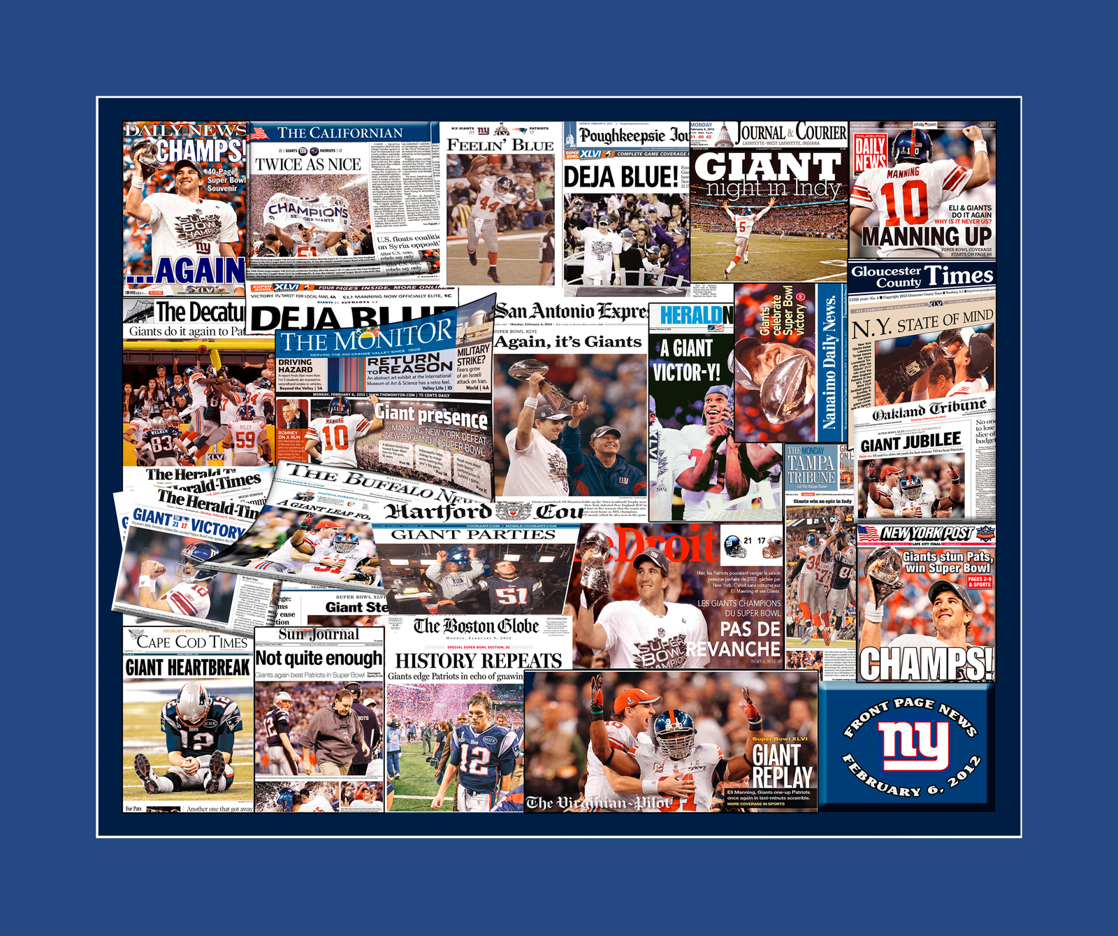 New York Giants 2012 Super Bowl Newspaper Collage Print Art- 25 Publications