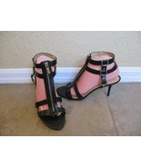 "Michael Kors Black Leather Zip Up Gladiator's With 3.5"" Heels Women Size... - $28.49"