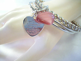 PEARLY PINK GLASS Heart Silver Tone BANGLE Bracelet  Engraved Definition... - $9.90