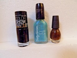 MAYBELLINE NAIL POLISH SHREDDED / SALLY HANSEN FROZEN BLUE / SINFUL COLO... - $4.94