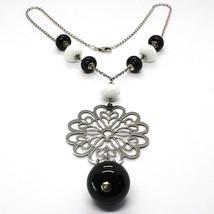 Collar Plata 925 , Ónix Negro, Ágata Blanca, Flor Trabajado Colgante image 1
