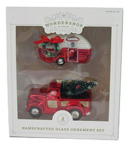 2ct Handcrafted Glass Christmas Ornament Set Red Truck and Trailer - Wondershop image 1