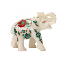 4''x2''x3.5'' White Marble Elephant Trunk Up Malachite Hakik Inlay Flora... - $56.10