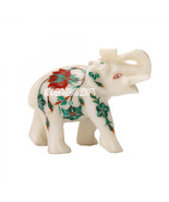 4''x2''x3.5'' White Marble Elephant Trunk Up Malachite Hakik Inlay Flora... - $56.10