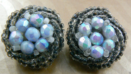 VINTAGE MULTI BLUE COLOR ROUND GLASS BEADS BIRD NEST CLIP EARRINGS GERMANY - $14.26