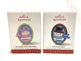 NEW 2015 Hallmark Keepsake Christmas Ornaments Dad Daughter Snowman Set... - $9.89