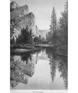 YOSEMITE Mirror Lake Sierra Nevada - 1883 German Print - $21.60