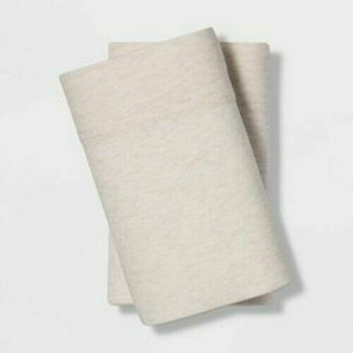 KING Size Tencel Jersey Blend Pillowcase Set Beige Project 62+ Nate Berkus NEW