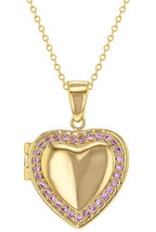 In Season Jewelry 18k Gold Plated Pink Crystal Heart Shaped Photo Locket... - $47.83