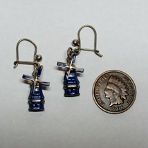 Vintage 835 Silver Windmill House Blue Delft Enamel Earrings Moving Blades - $29.69