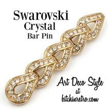 Swarovski Crystal Bar Pin Brooch with Swan Logo - $35.00