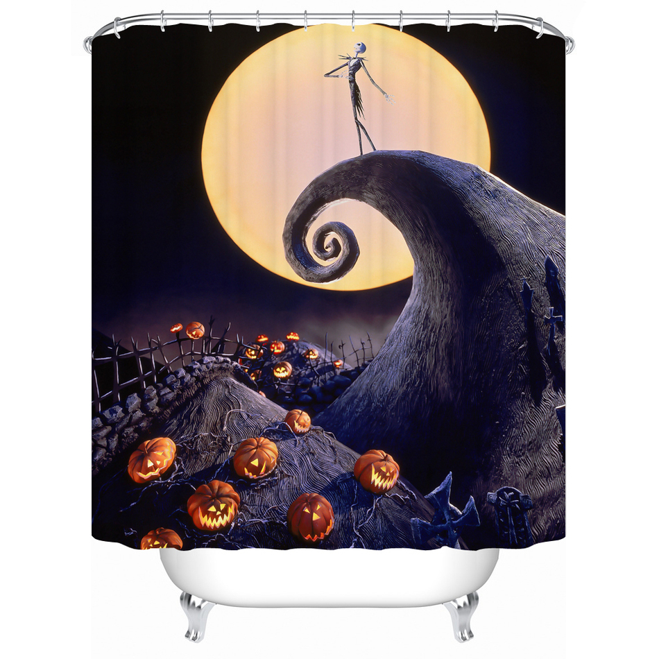 Party Happy Halloween 03 Shower Curtain Waterproof Polyester Fabric For Bathroom