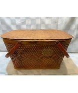 Vintage RED-MAN Wicker Woven Picnic Basket Peru Indiana Made in USA 18 x... - £15.98 GBP