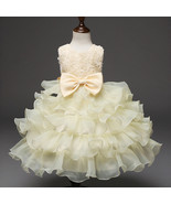 Toddler Infant Party Ball Gown Dress Beige dress for Baby Girl Birthday ... - £45.81 GBP