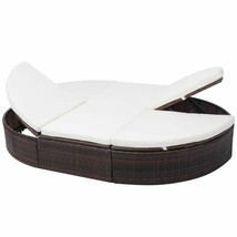 """vidaXL Sunlounger with Cushion Poly Rattan 78.7"""" Lounge Beds Seat Black/Brown image 2"""