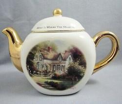 Thomas Kinkade Teleflora Ceramic Teapot Home Is Where The Heart Is II Gold Trim - $14.80