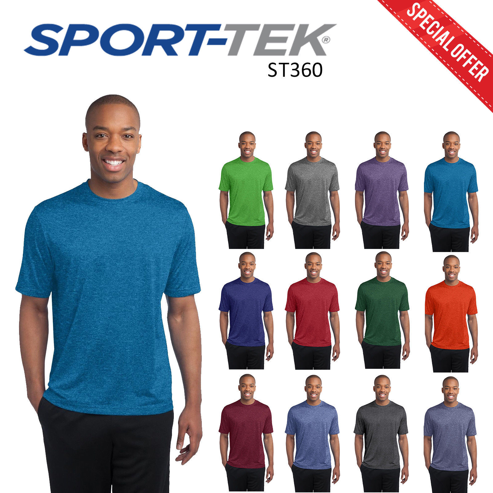 d8f27b75a Sport Tek Performance Heather Contender Mens Short Sleeve Casual Wear  Tshirt -  7.90 -  14.24