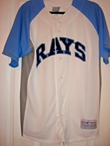 MLB TAMPA BAY RAYS MEN'S BUTTON DOWN POLYESTER WHITE LT BLUE MED JERSEY NEW - $17.97