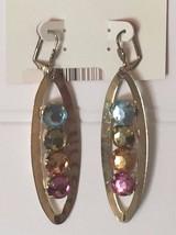 Vintage Faux Jewel Dangle Earrings Xhileration Pierced 20526 - $7.24