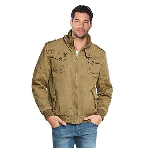Maximos Men's Hooded Multi Pocket Sherpa Lined Bomber Jacket Sahara-03 (Small, C
