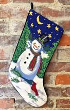 Vintage Snowman Needlepoint Christmas Stocking Bird Stars Moon Velvet Ba... - $34.64