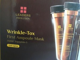 LEADERS Insolution Wrinkle-Tox First Ampoule Mask 23ml X 12 pcs Set NIB ... - $47.95