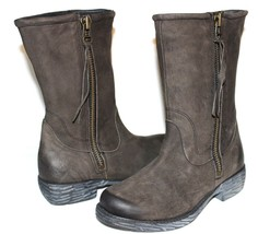 STEVEN Steve Madden Madeira Charcoal Premium Leather Zip Boots 7 M NEW! ... - $80.74