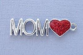 3pcs MOM Heart Enamel Pendants Charms Dangle Tag DIY Jewelry finding mak... - $2.50