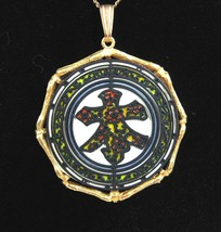 1971 JANMAX Oriental Asian Character NECKLACE Vintage Paper, Mock Stainedglass - $18.99