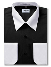Berlioni Italy Men's Premium Classic White Collar & Cuffs Two Tone Dress Shirt image 2