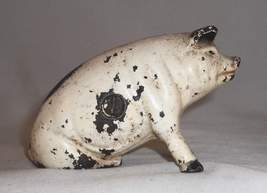 Old Painted Figural Cast Iron Still Penny Bank Pig or Hog Seated on Hind Leg image 3