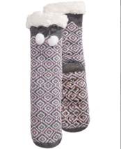 Charter Club Fleece Gripper Slipper Socks Gray Pink Geo Pattern  - $7.14
