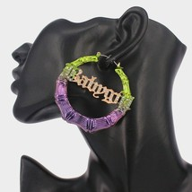 Purple & Green BABYGIRL Bamboo Textured Crystal 2.4 Inches Casual Hoop Earrings - $23.00