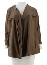 H Halston Open Front Drape Collar Knit Jacket Pckts Earth Green XXS NEW ... - $27.02