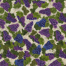 RJR Fabrics Over a Barrel Grapes on Cream 100% cotton Fabric by the yard... - $8.27