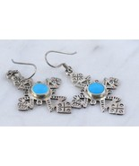 Sterling Silver CROSS Dangle EARRINGS with Turquoise Inlay - 2 inches long - $38.00