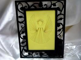 Vintage Black Threaded Metallic Thread Angel Picture, Unusual, Handmade - $11.00