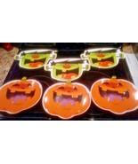 Jack-o-lantern & Frankenstein  6 pc Snack Dishes Plates  Dishwasher & Mi... - $17.82