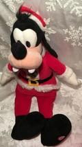 "Hallmark Santa Plush Totally Ticklish Squeeze 16"" Goofy Disney Mickey Mouse - $27.24"