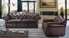 American Eagle EK699-BR Brown Tufted Sofa and Loveseat Set Italian Leath... - $3,091.00