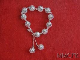 925 Silver Ball 3-D Fashion Bracelet Celebrity Jewelry Lucky Silver Bracelet - $17.95