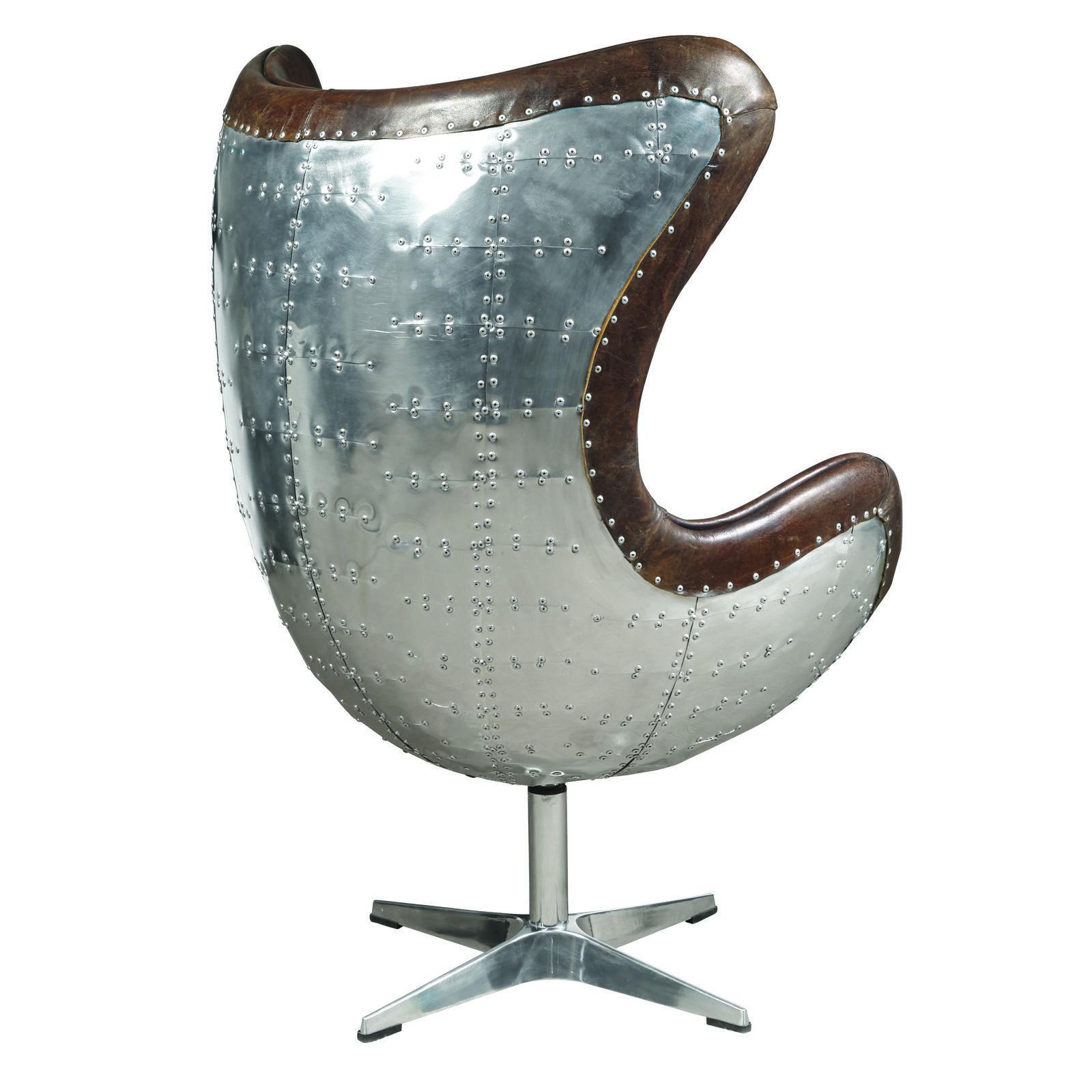 Fabulous Modern Cuba Brown Leather  Swivel Egg  Chair,32'' x 46''H.
