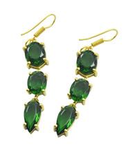 Green Gold Plated Glass fair Emerald CZ jewellery Earring AU gift - $17.61